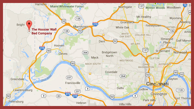 click map for detailed driving directions to the Hoosier Wall Bed Company
